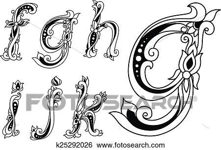 Floral ornamental outline sketch letters font Clip Art
