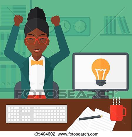 女, で 働くこと, オフィス。 クリップアート(切り張り)イラスト「絵畫」集 | k35404602 | Fotosearch