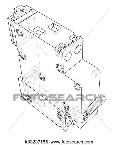 Automatic circuit breaker concept Stock Illustration