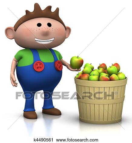 clipart of apple harvest - boy