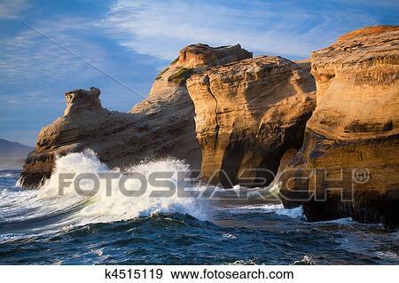 Banque de Photographies  vagues ocan paysage  cte orgon k4515119  Recherchez des Photos