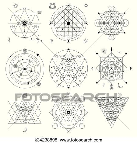 Abstract mystical geometry symbol set. Linear alchemy