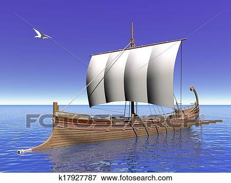Archivio Illustrazioni  greco barca  3d render k17927787  Cerca Clipart EPS Disegni