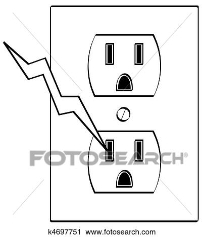 Clipart of electrical outlet with bolt of electricity