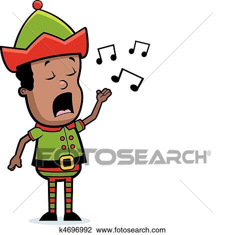 elf singing clipart