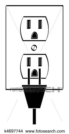 Drawings of electric or power outlet outline with plug