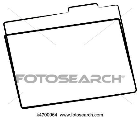 Drawings of office file folder or manila folder outline