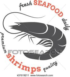 shrimp silhouette vector seafood restaurants packaging stores label template fotosearch clipart