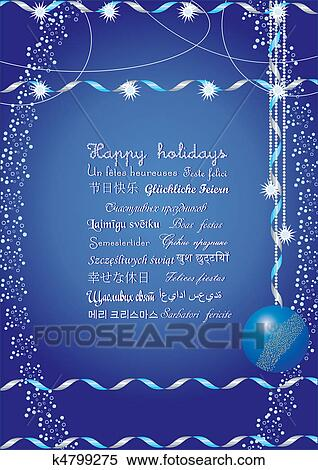 Happy holidays greetings on many languages, send it to your friends all over the world and they understand your message, vector illustration ...