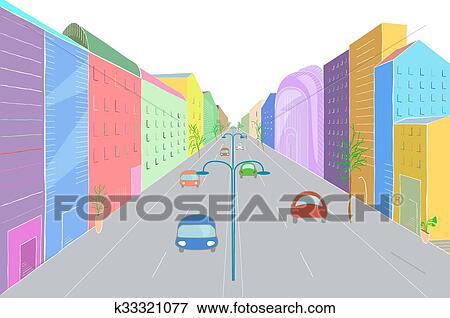 Paesaggio urbano in appartamento disegno stile Clip Art  k33321077  Fotosearch