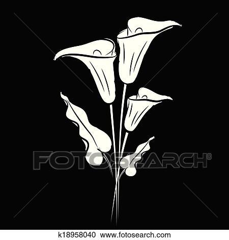 Clipart of Calla lily black k18958040