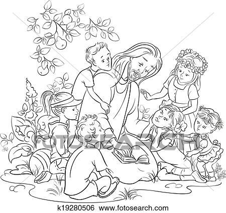 Clip Art Schwarz Wei Jesus Mit Kindern K19280506