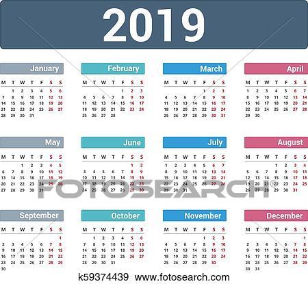 2019, 日曆 美工圖案   k59374439   Fotosearch