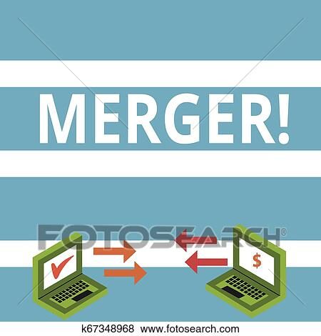 Text sign showing Merger. Conceptual photo Combination of two things or companies Fusion Coalition Unification Exchange Arrow Icons Between Two ...