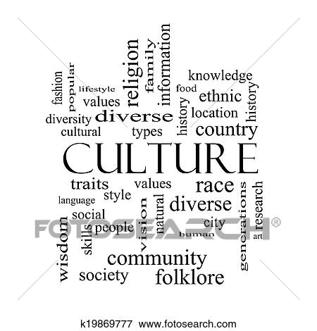 Picture of Culture Word Cloud Concept in black and white