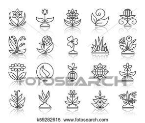 Garden simple black line icons vector set Clipart k59282615 Fotosearch