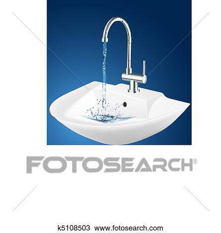 Wash basin Clipart   k5108503   Fotosearch