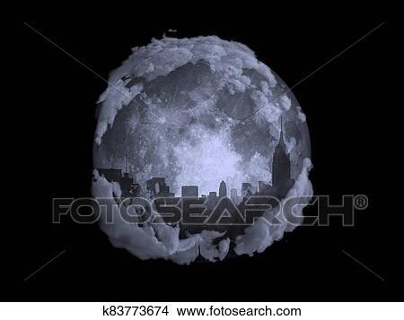 Full moon night city Stock Illustration | k83773674 | Fotosearch