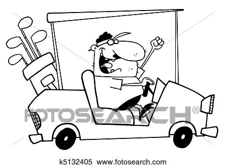 Clipart of Outlined Golfer Guy Driving A Cart k5132405