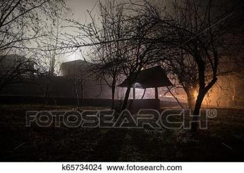 Viejo casa con un fantasma en el bosque por la noche o abandonado obsesionado horror casa en fog viejo místico edificio en árbol muerto forest árboles por la noche con moon Foto