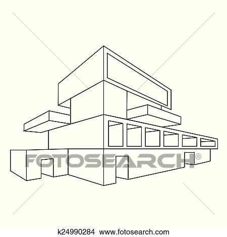 Clipart of 2D perspective drawing of a house k24990284