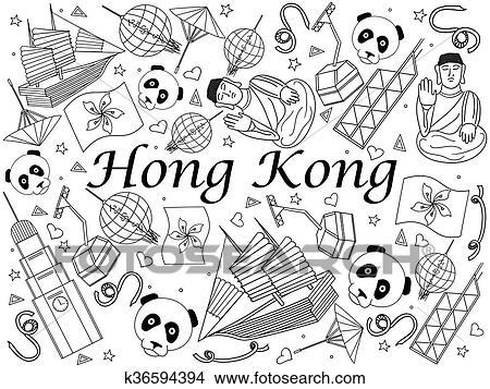 Hongkong, ausmalbilder, vektor, abbildung Clipart