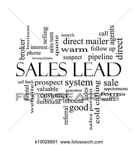 Sales Lead Word Cloud Concept in black and white Clipart