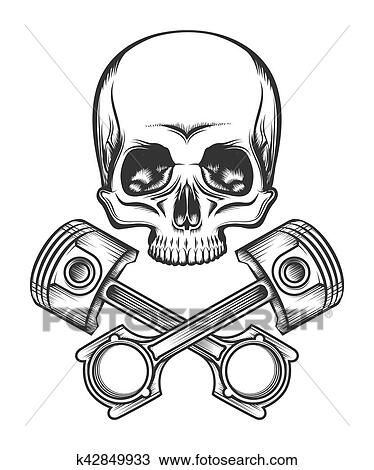 Clipart of Human Skull with Engine Pistons k42849933