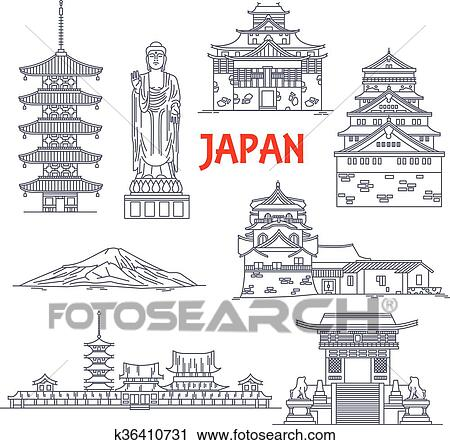 Clipart of Famous travel landmarks of Japan thin line icon