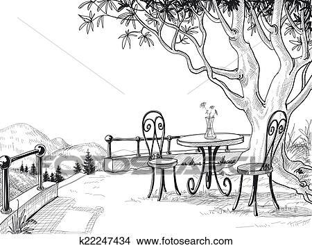 Clipart  restaurant terrasse croquis k22247434  Recherchez des Clip Arts des Illustrations