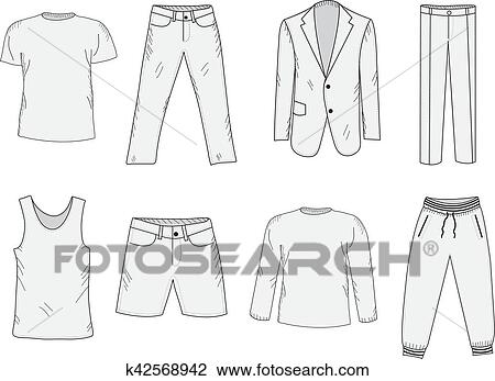 Clothing set sketch. Men's clothes, hand-drawing style