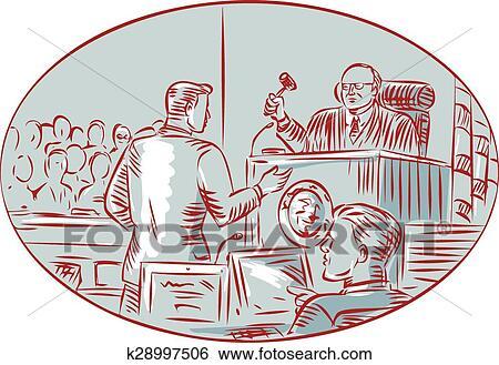 Judge Defendant Courtroom Etching Clip Art | k28997506 | Fotosearch