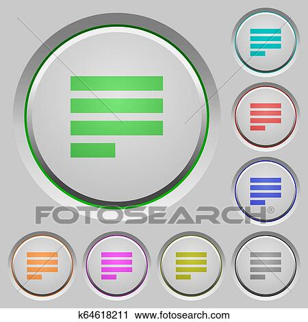 Text align justify last row left push buttons Clipart | k64618211 | Fotosearch