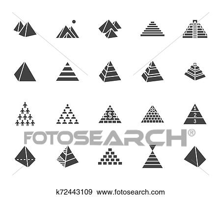 Pyramid flat glyph icon set. Egyptian monument, abstract