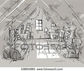 attic clipart vector illustration fotosearch clip gograph