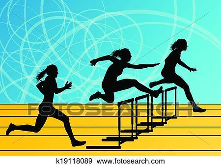 Active women girl sport athletics hurdles barrier running silhouettes illustration background vector Clip Art | k19118089 | Fotosearch