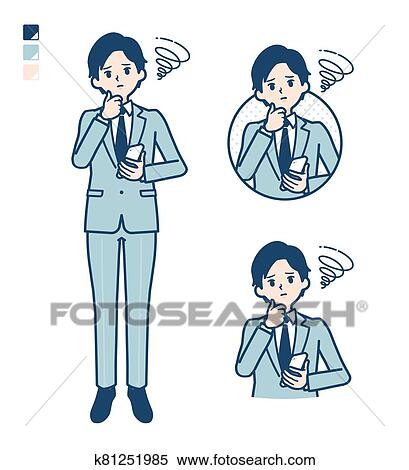 Simple suit businessman_smartphone-sigh Clipart | k81251985 | Fotosearch