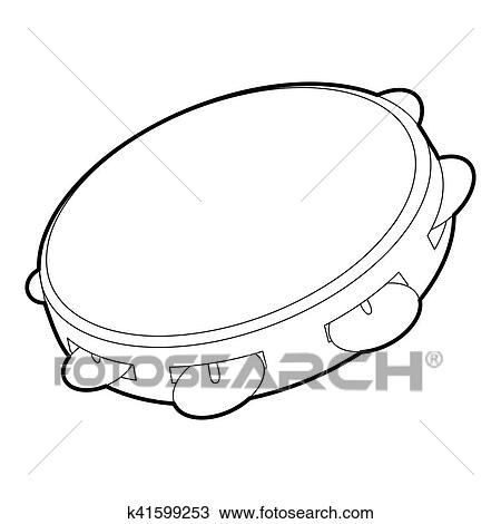 Drawing of Tambourine icon, outline isometric style