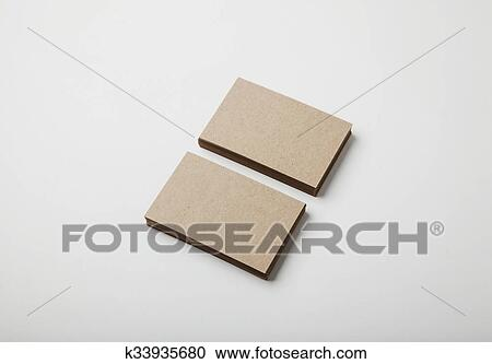 Two Stack Of Blank Craft Business Cards On White Background With Soft Shadows Stock Image K33935680 Fotosearch