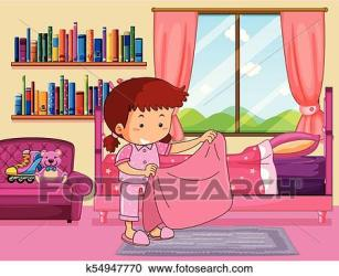 Girl making bed in bedroom Clipart k54947770 Fotosearch