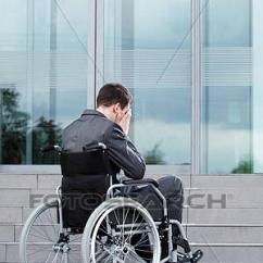 Wheelchair Man Kids Round Table And Chairs Stock Photo Of Stressful On Before Work K20847182 Fotosearch Search Photography