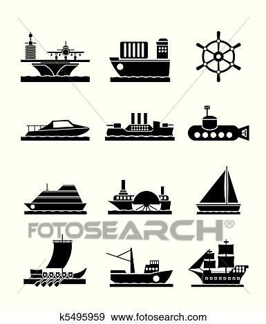 Clip Art of different types of boat and ships k5495959