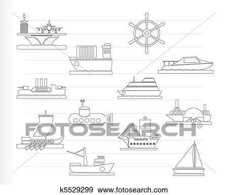 Clip Art of different types of boat and ship k5529299