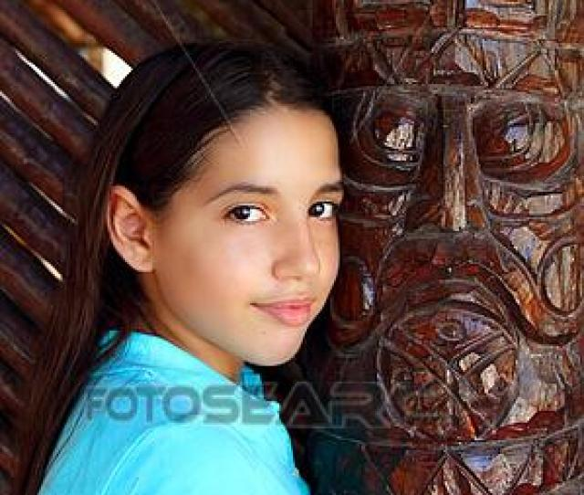 Stock Photograph Latin Mexican Teen Girl Smile Indian Wood Totem Fotosearch Search Stock