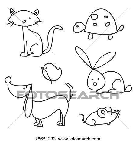 hand drawn cartoon pets