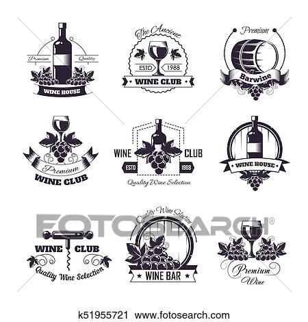 Wine club house vector icon templates for winemaking bar