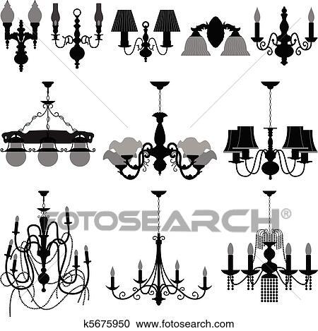 Chandelier Light Lamp Clipart   k5675950   Fotosearch