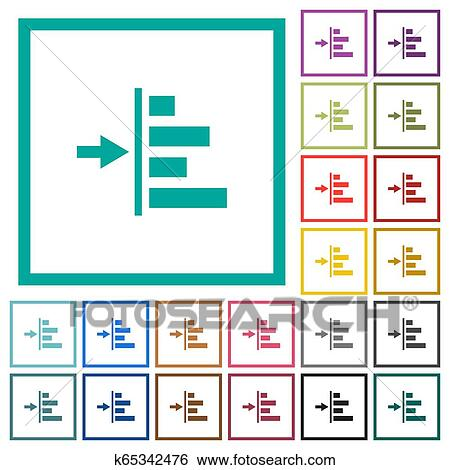 Increase left indentation of content flat color icons with quadrant frames Clip Art | k65342476 | Fotosearch