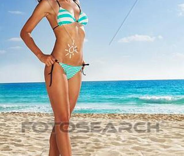 Stock Photograph Tanned Girl Posing On White Sand Beach Fotosearch Search Stock Photography