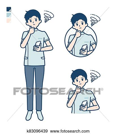 Simple nurse man_smartphone-sigh Clip Art | k83096439 | Fotosearch